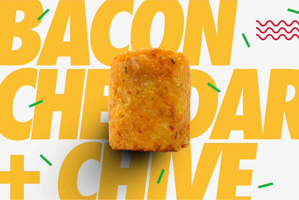 A Tater Keg featuring bacon, cheddar, sour cream, with just a hint of chives.